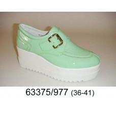 Women's mint leather shoes, model 63375-977