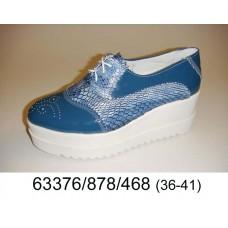 Women's blue leather platform shoes, model 63376-878-468