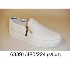 Women's white leather slip-on, model 63391-480-224