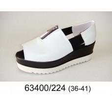 Women's leather open toe platform shoes, model 63400-224
