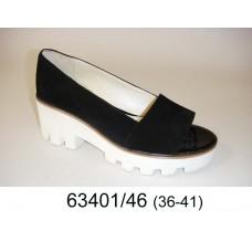 Women's leather open toe white platform shoes, model 63401-46
