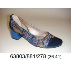 Women's blue leather high heels shoes, model 63803-881-278