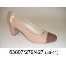 Women's beige leather shoes, model 63807-279-427
