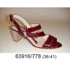 Women's wine leather fashion shoes, model 63916-778