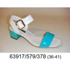 Women's blue light leather sandals, model 63917-579-378