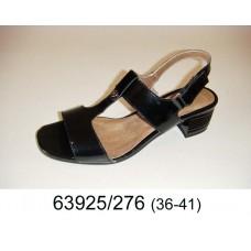 Women's black leather sandals, model 63925-276