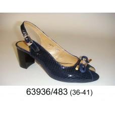 Women's blue leather shoes, model 63936-483